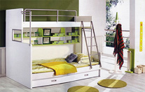 tudy table, bunk beds,